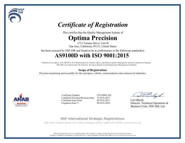 AC9100D certificate