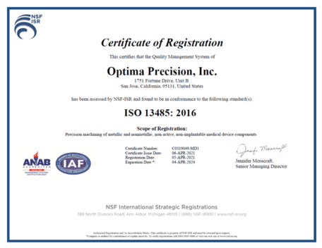 Certificate of ISO 13485:2016